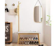 Percheros Perchas para El Piso Perchas para El Hogar Múltiples Propósitos Banco De Zapatos Colgador para El Dormitorio (Color : Yellow, Size : 34 * 83.5 * 44cm)