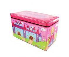 Infantil tamaño grande caja para guardar juguetes en el pecho e instrucciones para hacer vestidos asiento libros en máquina de troquelar: diseño de princesas Disney