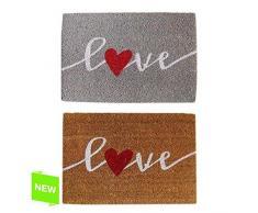 dcasa - Felpudo original de fibra de coco y base de goma diseño LOVE romantica - Marrón
