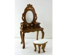 Tocador Julianna con Espejo y Taburete en Miniatura, Mobiliario de Dormitorio para Casa de Muñecas
