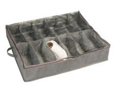 Wenko 4372100100 Libertà - Zapatero de fieltro transpirable con compartimentos para 12 pares de zapatos (74 x 15 x 60 cm), color gris