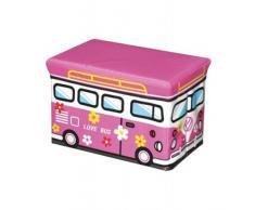 GMMH - Caja de almacenaje Plegable para Juguetes (diseño de autobús, Convertible en Taburete)