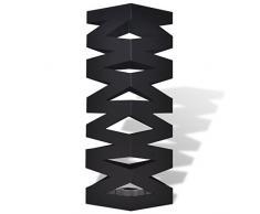 vidaXL Paragüero Modelo Cuadrado Negro de Acero Altura 48.5 cm Guarda Bastones