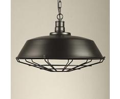 NIUYAO Lámparas de araña Metal avec Rejillas Candelabro Iluminación de techo Ajustable Industrial Retro 1 Luz-Negro