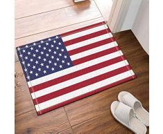 FEIYANG Art Deco Bandera Americana Alfombra de baño Alfombrilla Antideslizante Puerta Entrada Entrada Exterior Interior Puerta Delantera Alfombrilla niños baño Alfombra 60X40CM Accesorios de baño