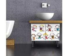 - banjado Badunterschrank 60 x 55 x 35 cm con diseño de armario con diseño de happy Kids