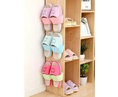 caolator – Juego de 3 espacio zapatero para fijar sobre la pared/la puerta/armario con del cinta espuma adhesiva color aleatorio