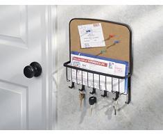 mDesign - Organizador de correspondencia, cartas y porta llaveros, con pizarra de corcho; para recibidor, cocina - de pared - Bronce