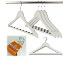 Hangerworld 10 Perchas de madera con barra antideslizante para pantalones – Color Blanco – 45 cm Juego