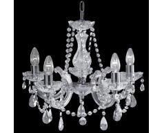 Searchlight 399-5 Marie Therese - Lámpara de araña (5 luces, adornos de cristal, acabado en cromo)