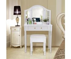 Songmics Tocador con cajones, espejo y taburete Mesa de maquillaje, Blanco, RDT33W