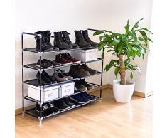 Relaxdays - Zapatero con Asas H x B x T: Aprox. 90,5 x 87 x 29,5 cm Rakku Fieltro de Tejido con 5 estantes para 25 Pares de Zapatos como Zapatero y Zapatero Estantería Ampliable, Negro