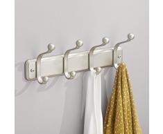 InterDesign York Lyra - Perchero de pared provisto de 4 ganchos, satinado