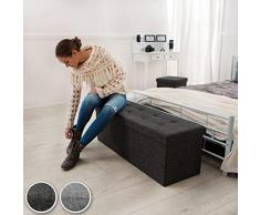 TecTake Taburete plegable banco caja de almacenaje asiento cúbico gris claro 110x38x38cm