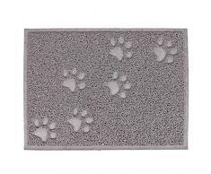 Gosear PVC Mat de Impermeable para Tazón de Alimentos de Mascota Perro Gato Comida / Alfombra Piso para Puerta de Cocina (Patrón de Garra de Pata,Gris)