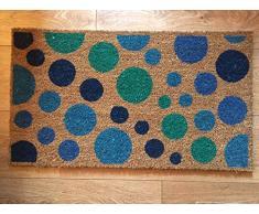 Heavy Duty 100% Fibra de coco Felpudo antideslizante alfombra/Felpudo (40 x 70 cm) diseño de círculos Multicolor