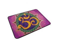 coosun Chakra Ohm con la mandala Felpudo, forma de puerta de interior al aire libre alfombra de entrada con base antideslizante., (23.6 por 15.7-inch)