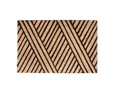 Relaxdays Fußmatte Streifen Aus Kokos, Rutschfest Felpudo con Líneas, Fibra de Coco, Beige, 40x60x1.5 cm