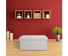 TecTake Asiento plegable Arcón Asiento Puf Ordenación Caja de almacenaje - disponible en diferentes colores - (Blanco | No. 400868)