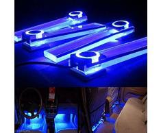 4 en uno 12 V coche decoración luces LED de carga interior lámpara de pie), color azul