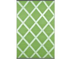 Green Decore Alfombrilla de plástico, reversible, ligera, uso interior o exterior, 90 x 150 cm, diseño de diamantes, color verde y marfil