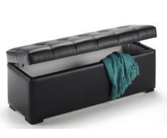 duehome Baúl arcón elevable tapizado en símil Piel, Puff Taburete (130 cm, Negro)