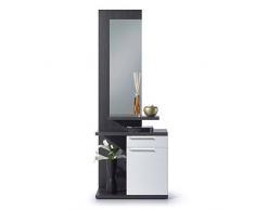 Habitdesign 016746G - Recibidor con espejo, color Gris Ceniza y Blanco Brillo, medidas: 186 x 61 x 29 cm de ancho