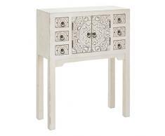 PEÑA VARGAS Mueble Auxiliar-Recibidor Oriente Blanco Rozado 2 Puertas 6 Cajones, Madera, 63X26X80 cm