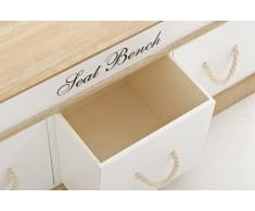 CLP Banco madera NORBY, estilo rústico con 3 cajones, 100 x 35 x 45 cm blanco