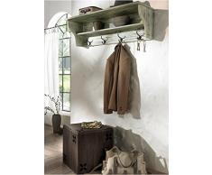 Diseño de estilo de vida 790698 pared perchero Spot Ruben, 30 x 100 cm, madera de pino, gris/blanco cepillado