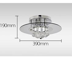 Create For Life® 4 luces de araña en forma redonda con colgantes de cristal, lámparas modernas del montaje del rubor, luz de techo de cristal para comedor,candelabro de dormitorio