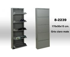 DRW Zapatero metálico de 5 Puertas Gris, Metal, 170 X 50 X 15 cm