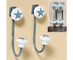 2 unidades de pared perchero ganchos gris con estrellas de metal porcelana ropa Star estrellas estrella