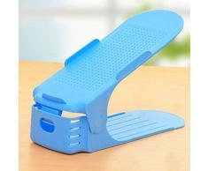 SODIAL Moderno Doble Limpieza Zapatos de Almacenamiento Estante Comodo Zapato Zapatos Organizador Soporte Estante azul