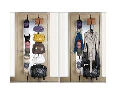 Edealing 1Pcs Color al azar Durante Puerta correas suspensión ajustable del sombrero del bolso de ropa Perchero Organizador 8 Ganchos