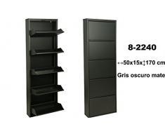 SuskaRegalos-Mueble zapatero de metal de 5 cajones en color gris oscuro mate