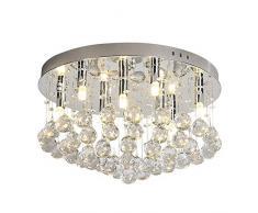 Moderno LED Cristal Lámpara de techo Candelabro Lámparas de araña Cromo Pulido Redondo Colgante de luz Gotitas para Dormitorio Sala Focos de techo Lámpara colgante Acero inoxidable Accesorio D45cm
