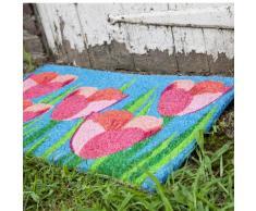 Entradas 43 x 71 cm campo de fibra de coco con parte trasera de PVC antideslizante Felpudo diseño de tulipanes