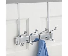 InterDesign York - Perchero con 4 ganchos para colgar sobre perfil de puerta, color cromado