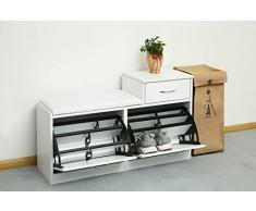 Orolay Armario zapatero, Taburete, puff caja, banco, estantería para zapatos, Chifonier (Blanco)