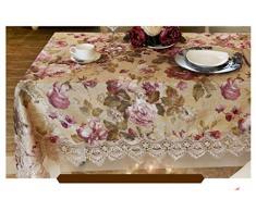 LILSN- mantel bordado mesa redonda de estilo europeo tejido de encaje jardín muela silla manteles de mesa de la bandera tapete de mesa de café ( Tamaño : 110*110cm )