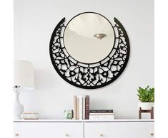 BAUPOR Espejo de pared redondo de metal con diseño único, espejo decorativo para entradas, salón, lavabos y oficina, obras de arte de pared modernas, marco negro 50 x 50 cm