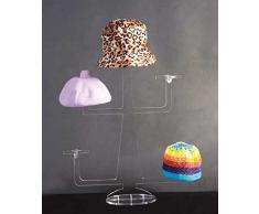 Expositor de banco y italiano Soporte para sombreros colgador gorro de plexiglás transparente