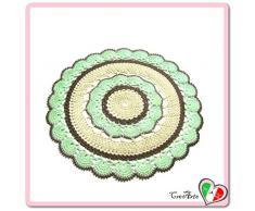 Tapete redondo marrón, beige y verde de ganchillo en algodón - Tamaño: ø 42 cm - Handmade - ITALY