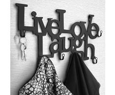 Nova - Perchero con 6 ganchos de pared de metal - 48 x 23 x 3 cm Live, Love, Laugh - Perchero de pared, perchero para ropa, panel para colgar