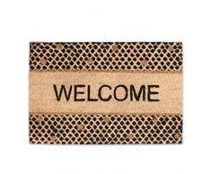 Relaxdays Felpudo de Bienvenida, HxWxD: 1,5 x 60 x 40 cm, diseño de Brillantina, Rectangular, Antideslizante, Fibra de Coco, Goma, Fibra de Coco, Multicolour, 40 x 60 x 1,5 cm