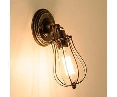 Apliques de Pared Vintage Ajustable Metal Lampara Rustica Retro Lámpara Industrial de Pared E27 para la Salon, Cocina, Desván, Restaurante, Cafe, Club Decoración (Bronce, Bombillas No Incluidas)