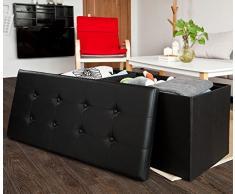 SoBuy® 110x48x48cm, caja taburete, banco, puff arcón, puff caja, cesto para ropa, negro, FSS27-EL-SCH