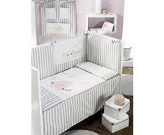 INTER BEBÉ 91628-02 Set 3 piezas: edredón, nido y almohadas de cuna Mod coches, 60 X 120 cm, de color rosa