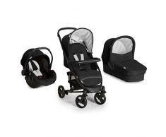Hauck Miami 4S Trio Set - Coche de bebes 3 piezas de capazo, sillita y Grupo 0+ para recién nacidos hasta bebes/niños de 15 kg, cesta grande para la compra, plegable, color negro y gris